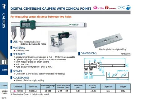Digital Centerline Calipers w/ Conical Points (D-200AA) 2