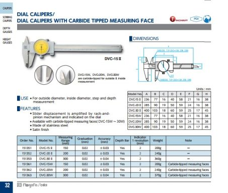 Dial Calipers (opt. w/ Carbide Tipped Meas. Face)(DVC Series) 2